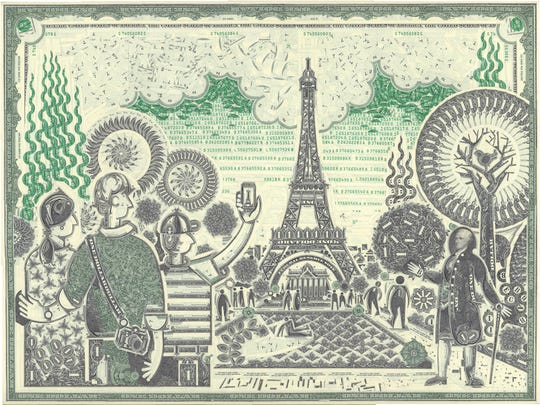A scene of Paris, made of cut-up US currency, by Mark Wagner.