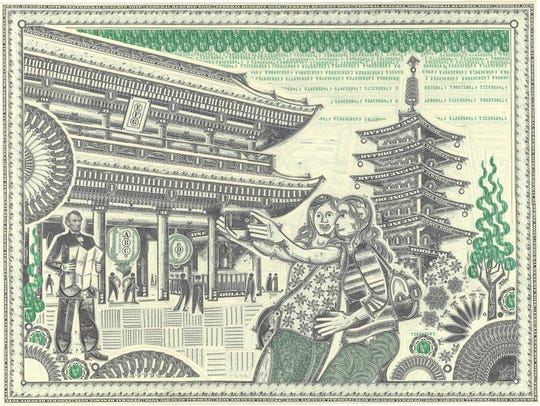 A scene from Tokyo, created by Mark Wagner from cut up US currency.