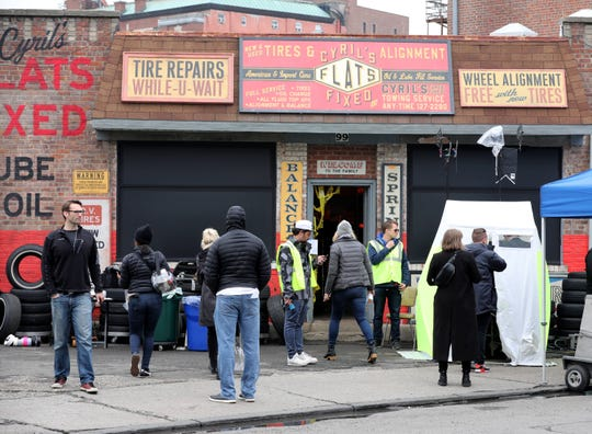"Movie production crews works along School Street in Yonkers as they film ""The Sopranos"" prequel movie ""The Many Saints of Newark"", April 30, 2019."