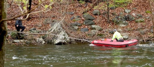 A Croton DPW was rescued from the Croton River off of Silver Lake Park April 30, 2019. John Munson, assistant chief of the Croton Fire Department said that three DPW workers were in a small boat performing routine maintenance on the river Tuesday morning when their boat capsized. Two of the men were able to make it to shore unassisted, while one of the men became stranded on the river. He was eventually pulled to shore on a raft. None of the men sustained injuries.