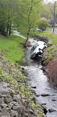 A driver accidentally drove into a creek outside the Rockland County Courthouse, Tuesday, May 1, 2019. The driver was not injured.