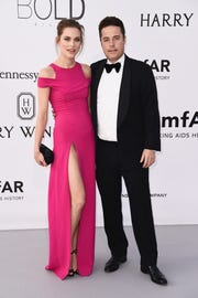 Lana Zakocela and Justin Etzin at a Cinema Against AIDS Gala in France in 2016.