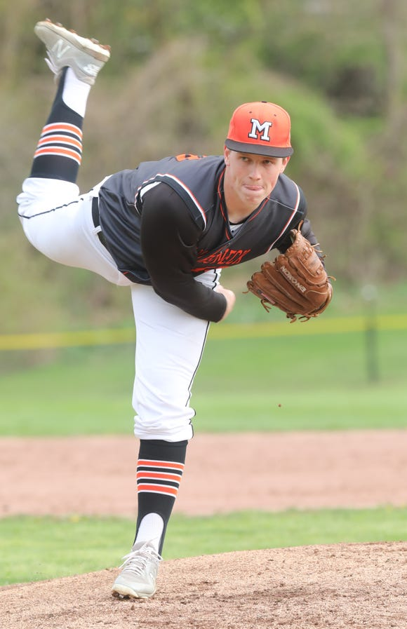 Mamaroneck's Thomas Plunkett (18) pitches during the first annual Richard W. Kittle Memorial baseball game at White Plains High School April 29, 2019. Mamaroneck defeats White Plains 3-1 the first Kittle Cup in honor of former coach and umpire Dick Kittle, who passed away in 2017.
