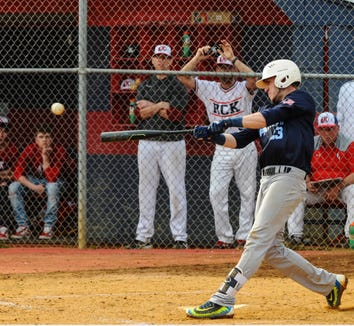 Tommy DiRusso of John Jay-East Fishkill hits a ball during a game at Ketcham High School.
