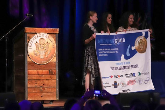 """St. Elizabeth High School received a medal for """"Outstanding Service by a High School"""" during the seventh annual Jefferson Awards Awards Ceremony Monday, April 29, 2019, at The Queen Theater in Wilmington DE."""