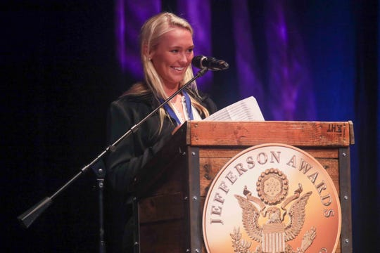 Jane Lyons addresses the audience during the seventh annual Jefferson Awards Awards Ceremony Monday, April 29, 2019, at The Queen Theater in Wilmington DE.