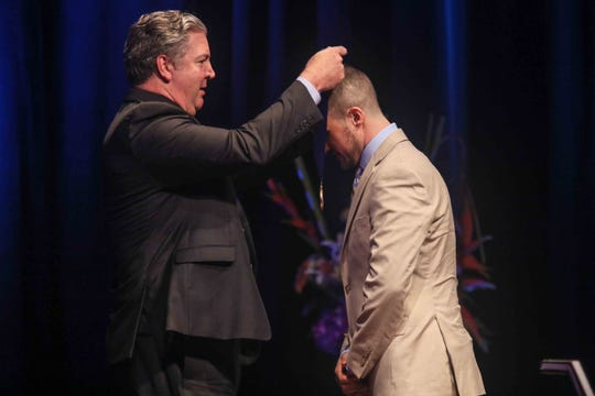 """News Journal President Tom Donovan presented a medal to Rocco Malin for """"Outstanding Service Benefitting Local Communities"""" during the seventh annual Jefferson Awards Awards Ceremony Monday, April 29, 2019, at The Queen Theater in Wilmington DE."""