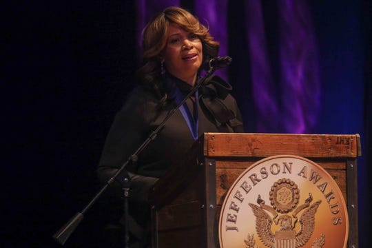 """Nicole Waters received a medal for public service """"New Castle County Government"""" during the seventh annual Jefferson Awards Awards Ceremony Monday, April 29, 2019, at The Queen Theater in Wilmington DE."""