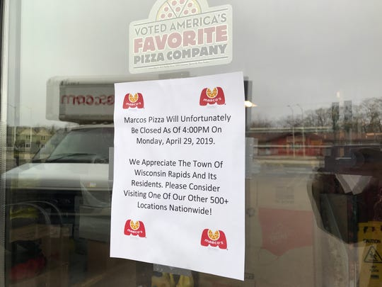 A sign posted on Marco's Pizza in Wisconsin Rapids. Photo taken April 30, 2019