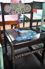 An intricately detailed art chair, Drowning In Dots, by Melissa Guillory, is part of the Chair-ity Art Auction for the Wichita Falls Public Library.