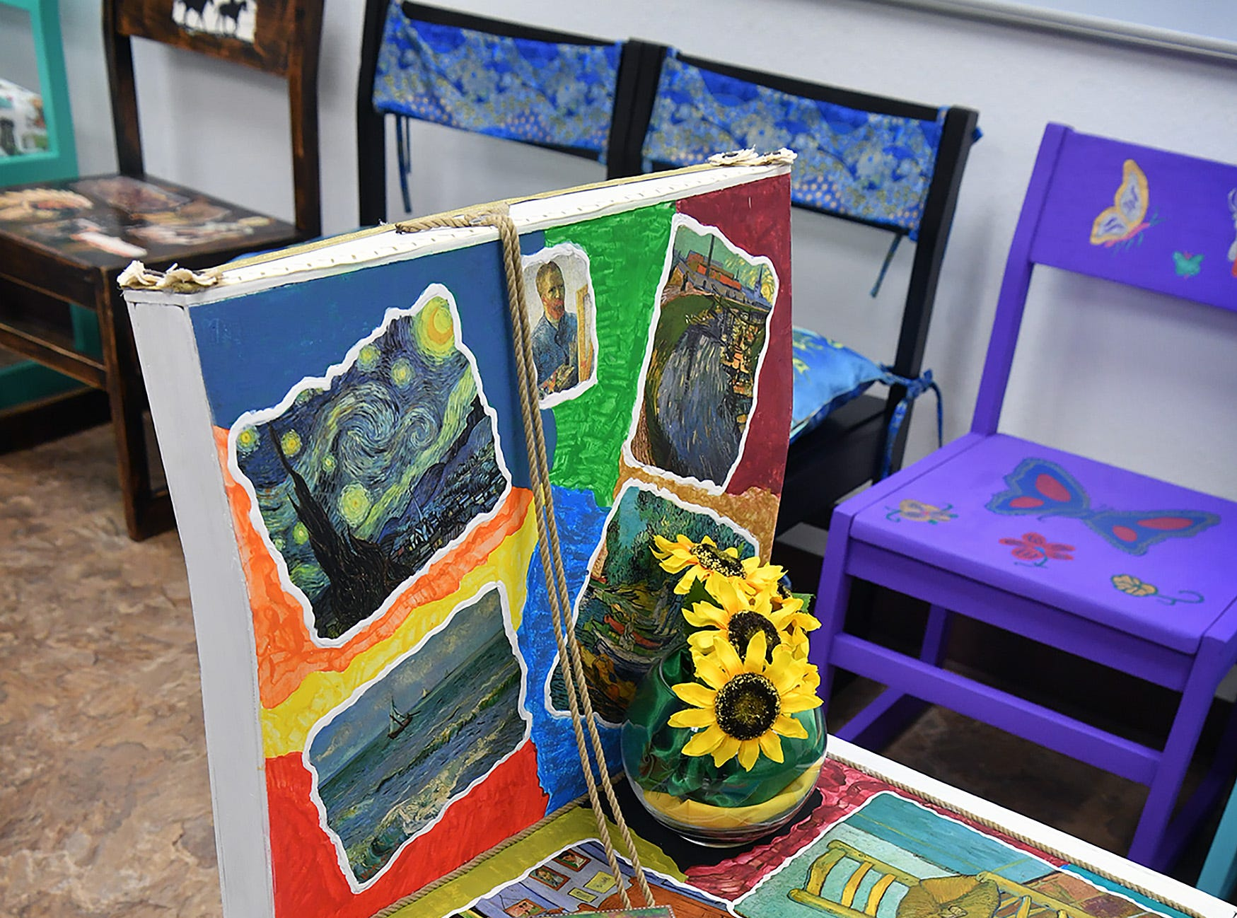 An art chair titled Van Gogh Sat Here by Marilyn Moore is one of approximately 40 in the Chair-ity Art Auction.