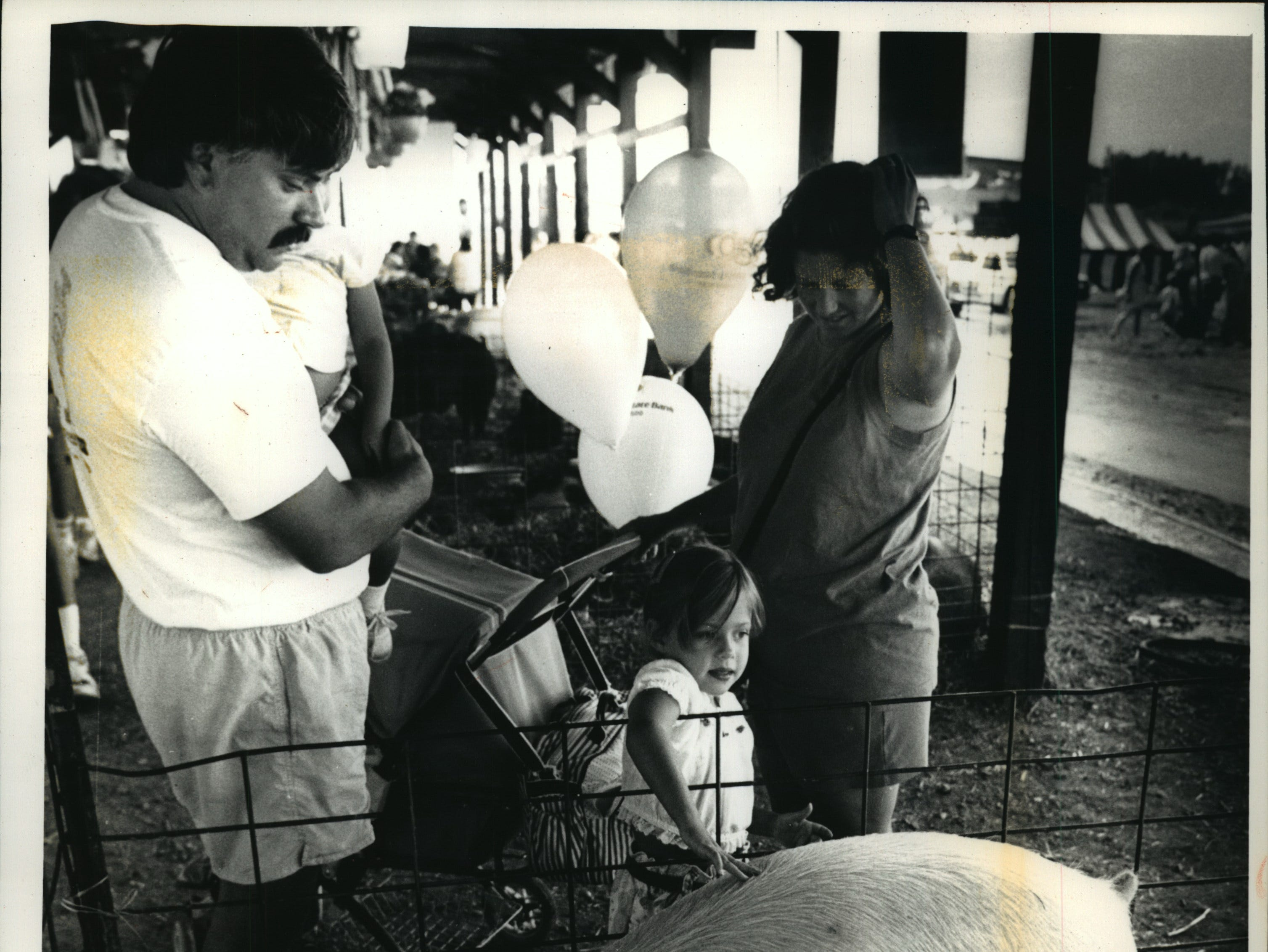 Larry Marx and his wife, Lisa, formerly of Waukesha but now of Madison, watch as their daughter Rachel, 4, pets a pig at the Waukesha County Fair Sunday. Mom holds Chloe, 2,  and 7-week-old Emma sleeps in the carriage.