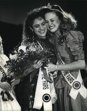 Sue Adams, left, 21, gets a congratulatory hug from Michelle Beilke, 1992 Fairest of the Fairs, after Adams was announced as the 1993 Wisconsin Fairest of the Fairs at the Wisconsin Association of Fairs convention at the Hyatt Regency Milwaukee. Both represented the Fond du Lac County Fair.