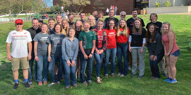 UW-River Falls team and individual participants in soils and crops competitions are pictured with team coaches Bill Anderson, Holly Dolliver and Veronica Justen at the Murray State University campus.