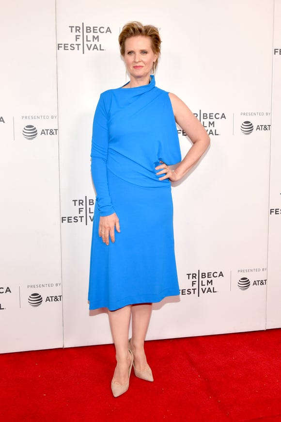"Cynthia Nixon was at the Tribeca Film Festival to screen her film ""Stray Dolls."""
