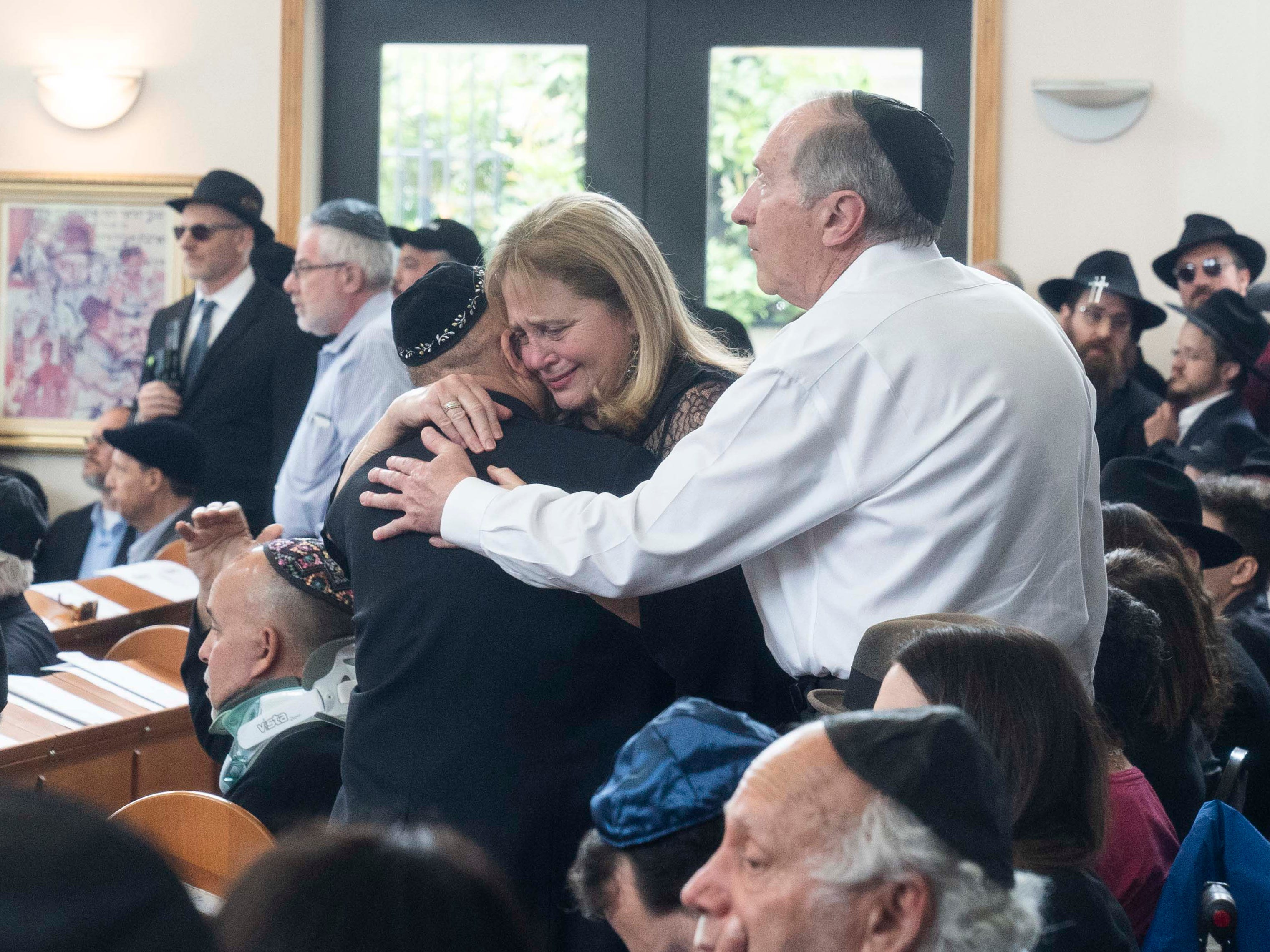 People attend a funeral service on April 29, 2019, for Lori Gilbert-Kaye, who died during the shooting at Chabad of Poway Synagogue in Poway, Calif.