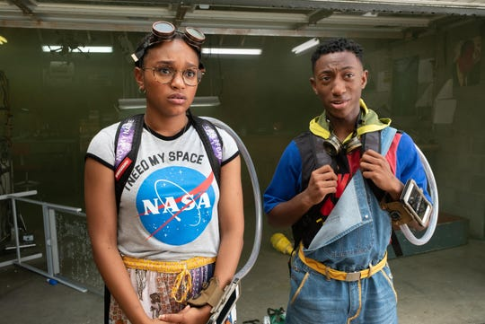"Eden Duncan-Smith (left) and Dante Crichlow star as teenagers who invent time-travel technology and try to save a loved one in ""See You Yesterday."""