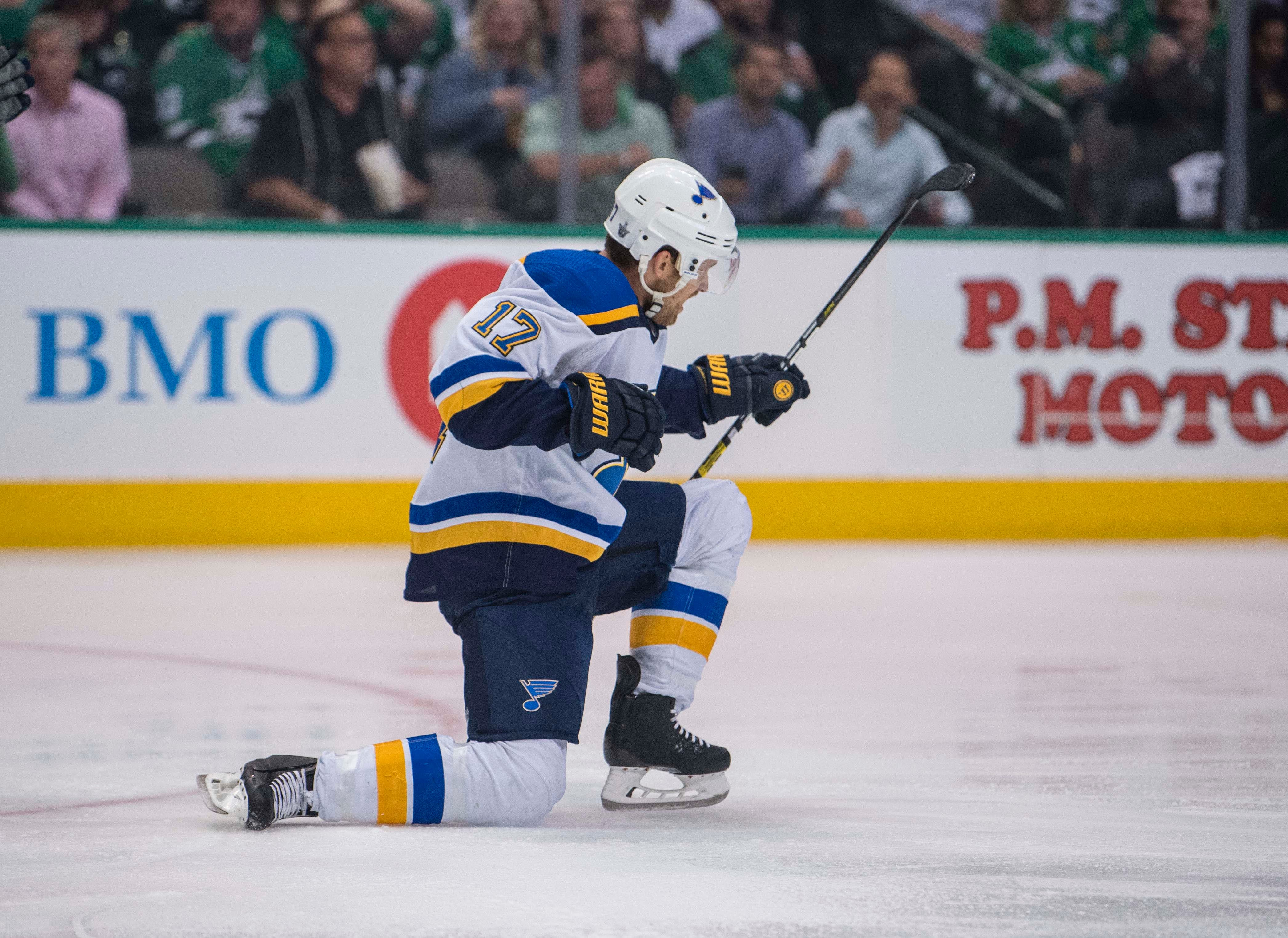 Second round: St. Louis Blues LW Jaden Schwartz (17) celebrates a first-period goal against the Stars during Game 3 in Dallas. The Blues edged the Stars 4-3 to take a 2-1 series lead.