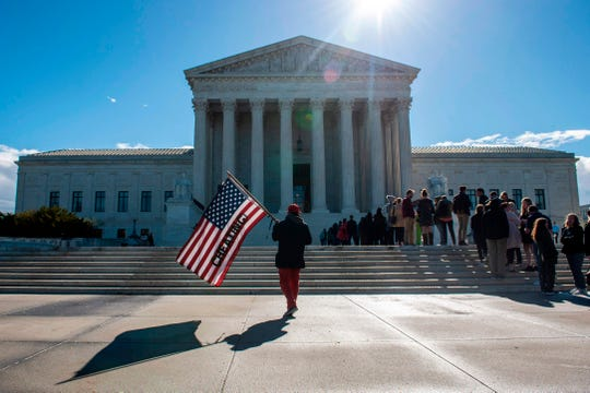 In front of the United States Supreme Court in Washington, D.C., on April 15, 2019.