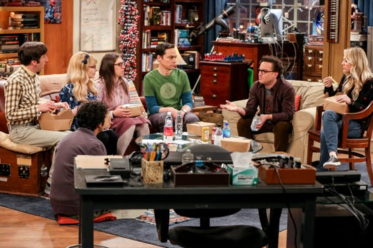'The Big Bang Theory' friends take their respective places for a signature meal during the record-setting 276th episode: Howard (Simon Helberg), left, Raj (Kunal Nayyar), seated on floor, Bernadette (Melissa Rauch), Amy (Mayim Bialik), Sheldon (Jim Parsons), Leonard (Johnny Galecki) and Penny (Kaley Cuoco).