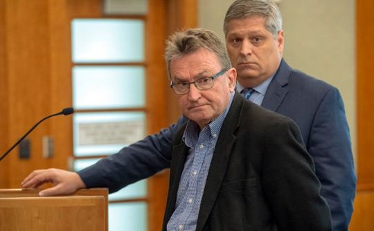 Sundance Film Festival co-founder Sterling Van Wagenen, left, pleads guilty during his initial appearance in American Fork, Utah, on Tuesday, April 30, 2019.