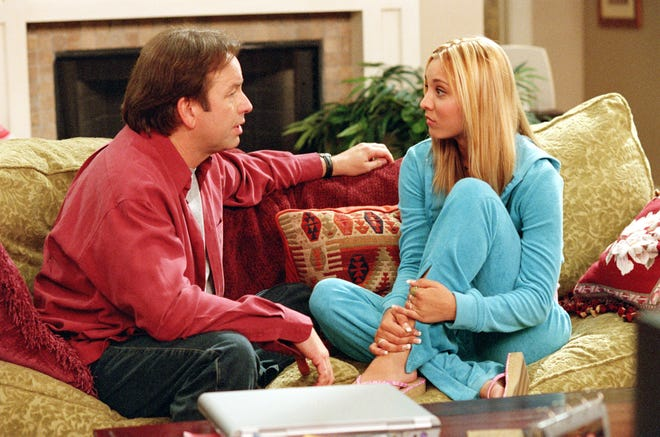 "As a teenager, Kaley Cuoco, right, played the daughter of John Ritter's character in ABC's ""8 Simple Rules,"" which premiered in 2002."