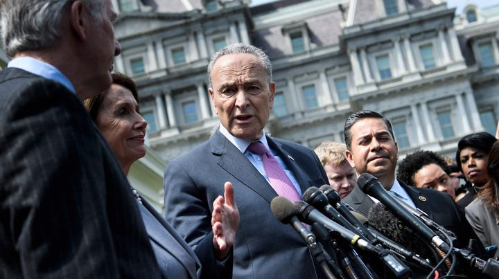 House Speaker Nancy Pelosi and Senate Minority Leader Chuck Schumer after meeting on infrastructure with President Donald Trump, on Tuesday,April 30, 2019, at the White House in Washington, DC.
