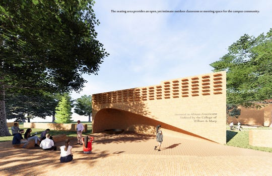 This illustration shows a design for a memorial the College of William & Mary plans to erect to people who were enslaved at the centuries-old school in Williamsburg, Va. Imagined by 2011 William & Mary graduate William Sendor, it's meant to evoke a hearth.