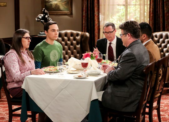 Amy (Mayim Bialik), left, and Sheldon (Jim Parsons) don't look like they're enjoying lunch with university President Siebert (Joshua Malina) and Nobel Prize rivals Dr. Pemberton (Sean Astin) and Dr. Campbell (Kal Penn) in 'The Plagiarism Schism,' Thursday's episode of CBS's 'The Big Bang Theory.'