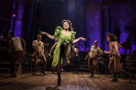 """Amber Gray and the cast during a performance of """"Hadestown,"""" directed by Rachel Chavkin."""