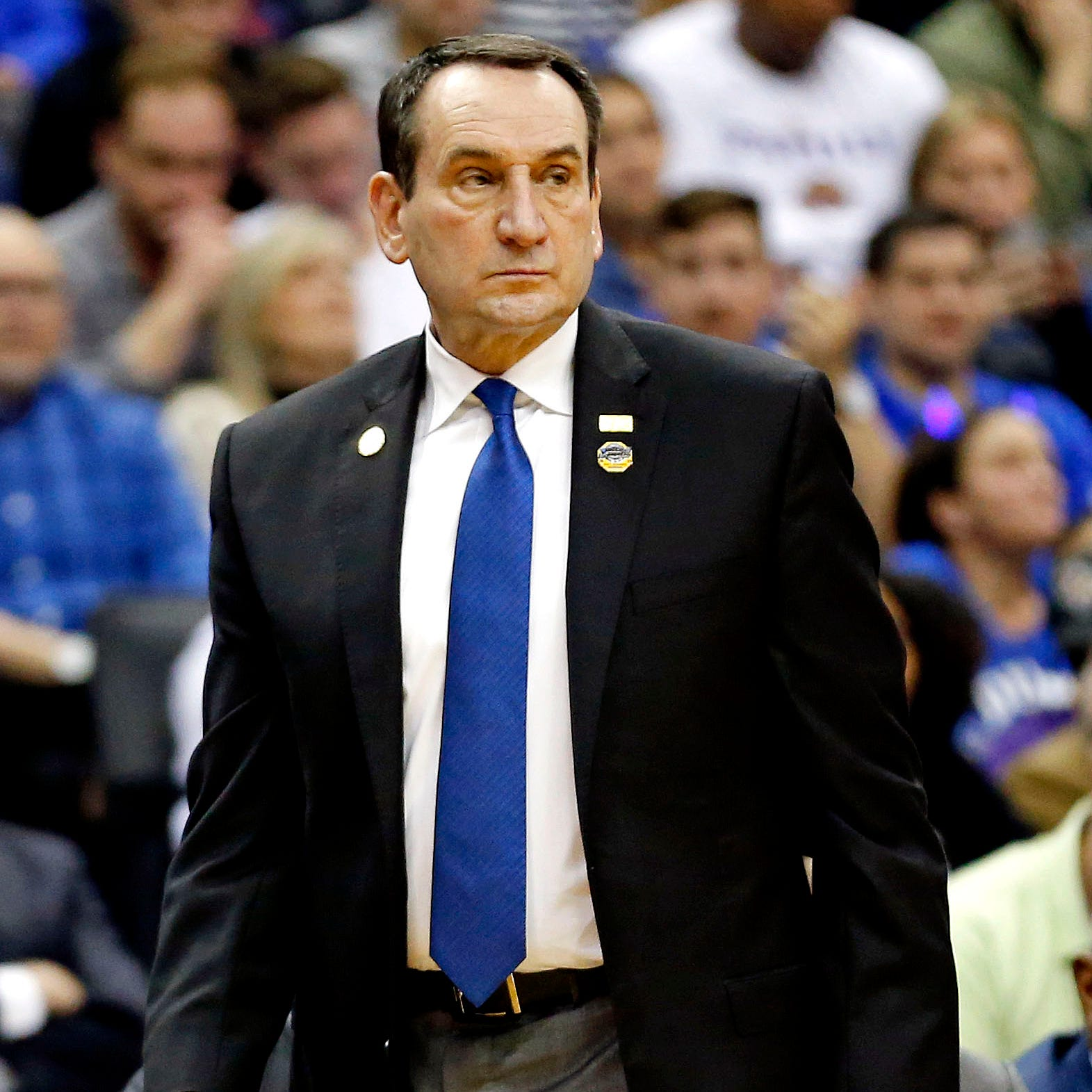 Mar 29, 2019; Washington, DC, USA; Duke Blue Devils head coach Mike Krzyzewski during the first half against the Virginia Tech Hokies in the semifinals of the east regional of the 2019 NCAA Tournament at Capital One Arena. Mandatory Credit: Amber Searls-USA TODAY Sports ORG XMIT: USATSI-401077 ORIG FILE ID:  20190329_pjc_si2_792.JPG