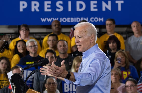 Former US vice president Joe Biden speaks during his first campaign event as a candidate for US President at Teamsters Local 249 in Pittsburgh, Pennsylvania, April 29, 2019.