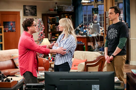 Johnny Galecki, left, Kaley Cuoco and Jim Parsons, seen in the April 25 episode, formed the core cast trio when CBS' 'The Big Bang Theory' launched 12 seasons ago.