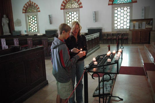 The author with her son, James O'Connor, in the synagogue in Pecs, Hungary, where family members worshiped. September 2010.