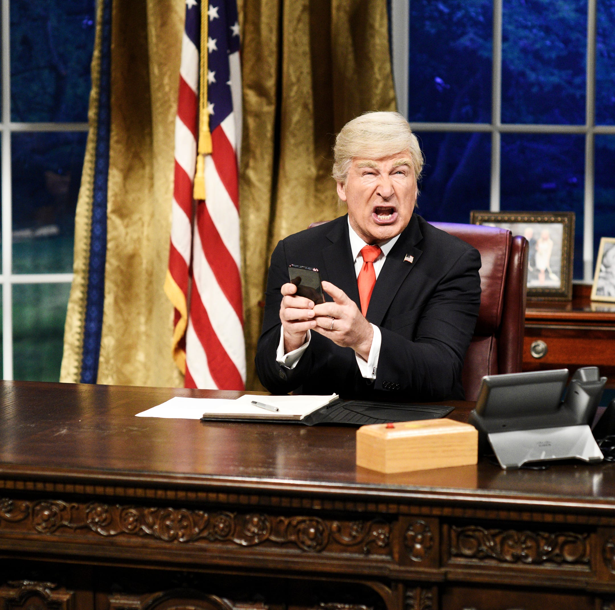 "SATURDAY NIGHT LIVE -- ""Sandra Oh"" Episode 1762 -- Pictured: Alec Baldwin as Donald Trump during the ""Mueller Report"" Cold Open on Saturday, March 30, 2019 -- (Photo by: Will Heath/NBC)"