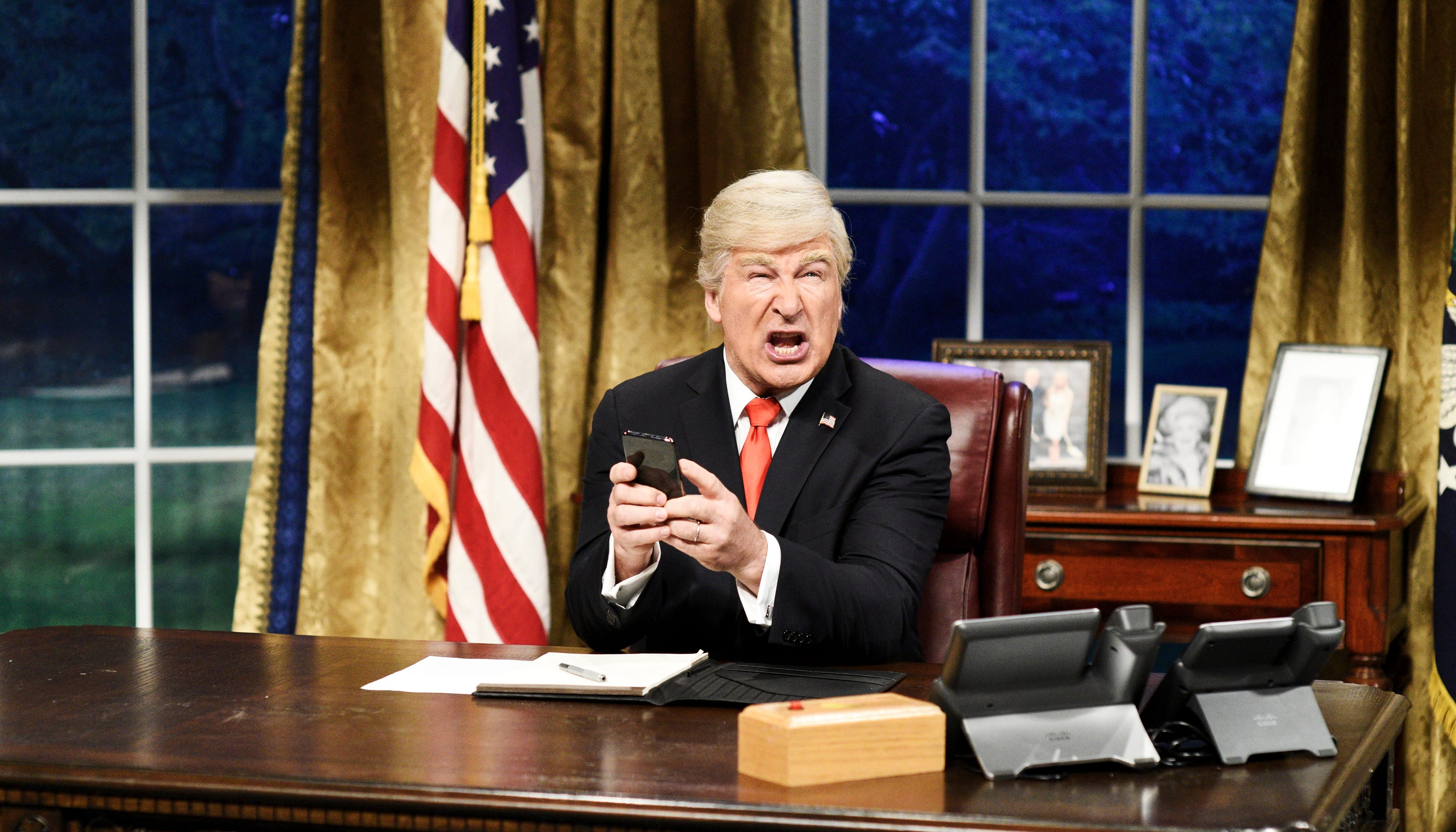 """SATURDAY NIGHT LIVE -- """"Sandra Oh"""" Episode 1762 -- Pictured: Alec Baldwin as Donald Trump during the """"Mueller Report"""" Cold Open on Saturday, March 30, 2019 -- (Photo by: Will Heath/NBC)"""