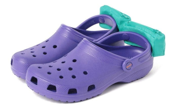 Crocs with fanny packs are a thing now? Some have sun visors, too. The net is confused.