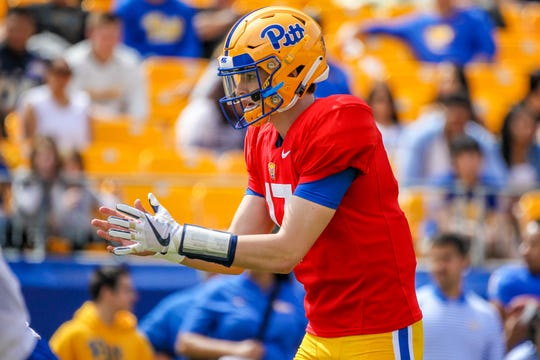 Davis Beville graduated early from Greenville High and participated in the spring football game at Pitt.