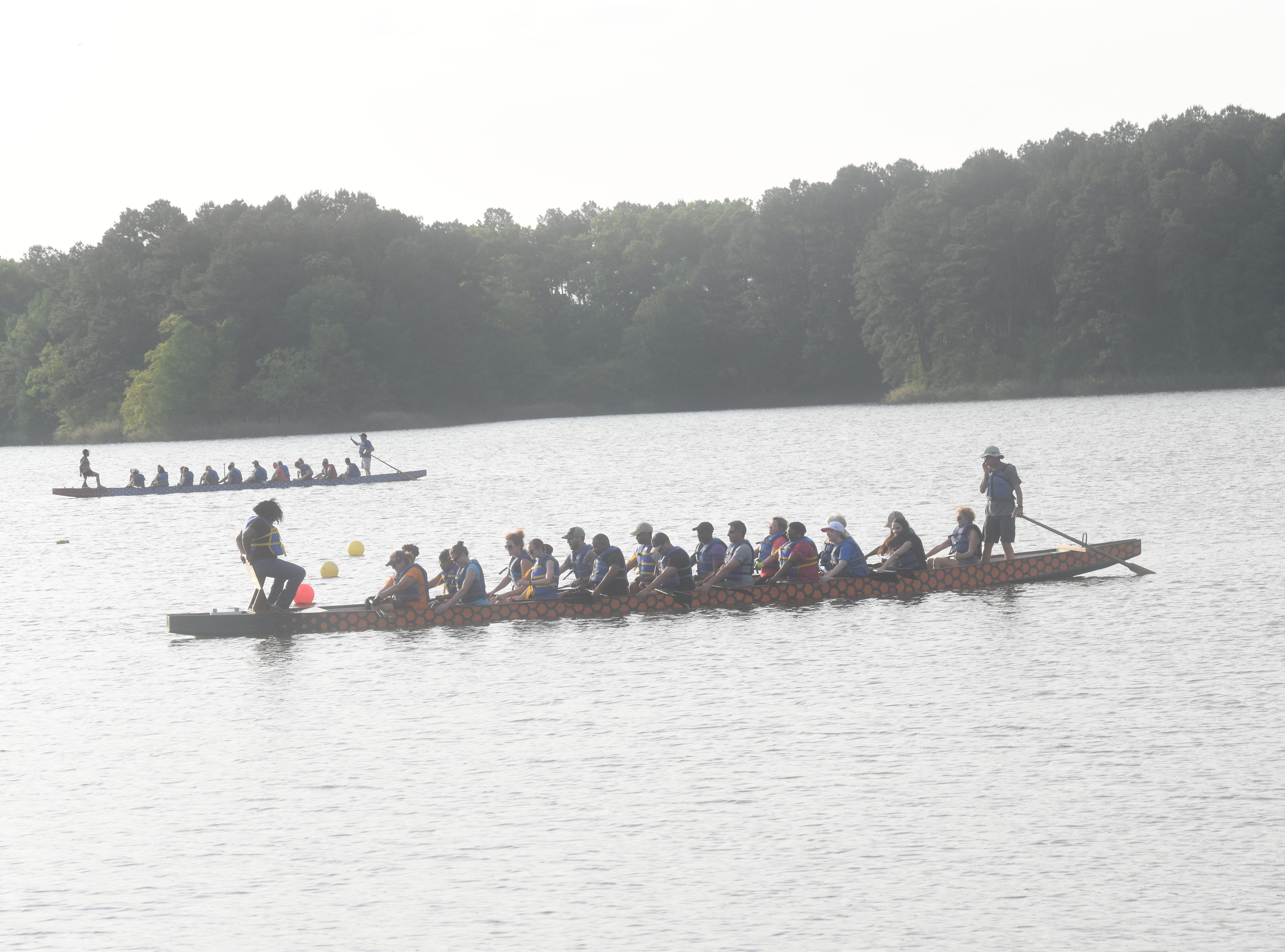 Dragon boat practices are being held this week at Lake Buhlow in Pineville in preparation for Saturday's 2019 Louisiana Dragon Boat Races. Nineteen local teams will be competing in the event that is a fundraiser for the Alexandria Museum of Art. This is the ninth year for the event. On Tuesday, the student team from LSUA; the Procter & Gamble team; the Walker Automotive team and Emmanuel Baptist Church team were practicing. Emmanuel Baptist Church won the races in 2018. The event at Buhlow begins at 9 a.m. and is free for spectators.
