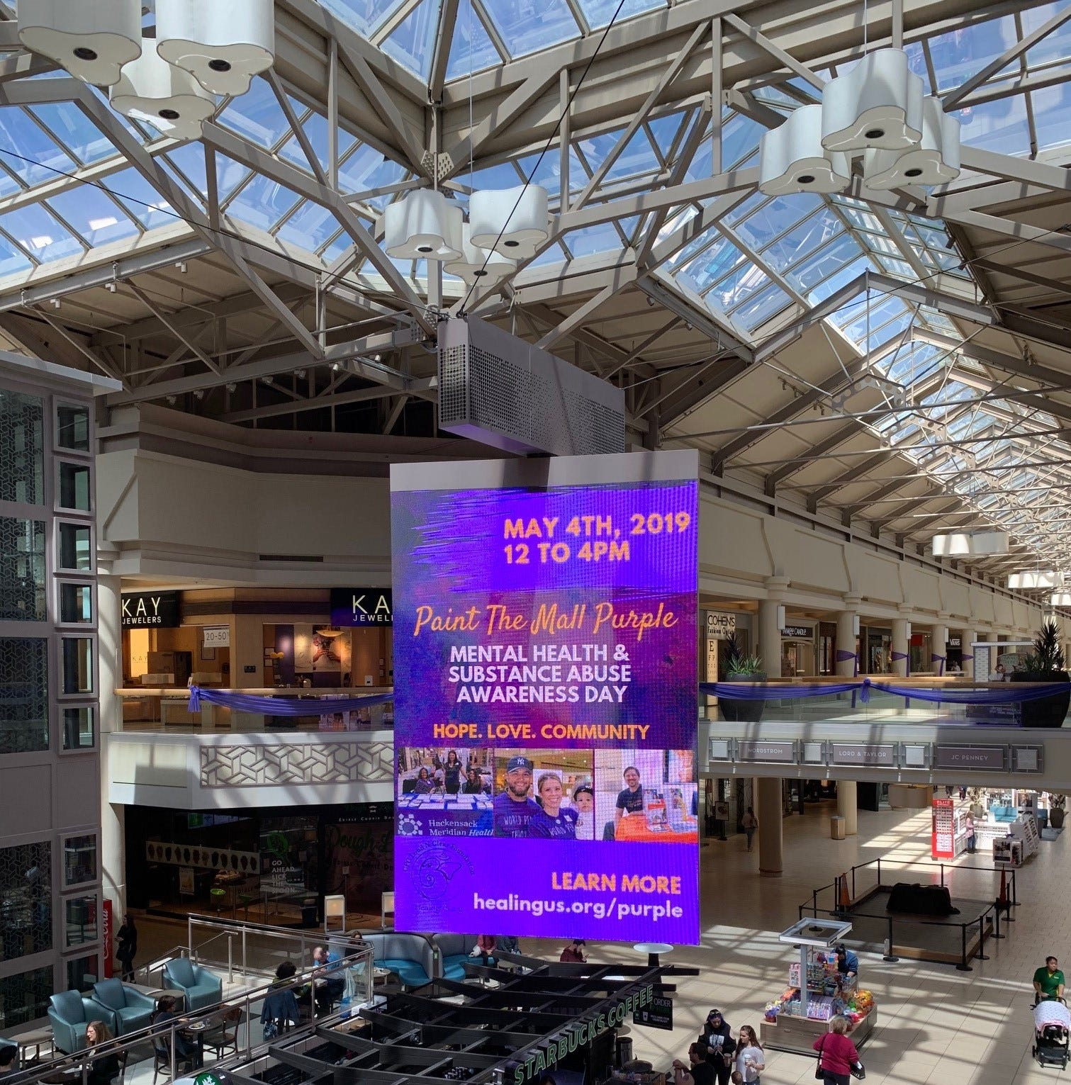 Freehold Raceway Mall is turning purple Saturday for mental health