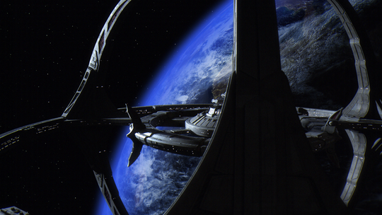 "A remastered look at the Deep Space Nine space station from ""Star Trek: Deep Space Nine"" as seen in the film ""What We Left Behind."""