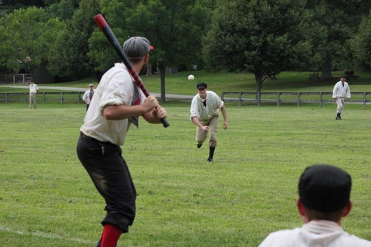 """Monmouth Furnace Base Ball Club, in the field, in vintage 1864 base ball action at the 2017 Old Bethpage """"Doc Adams"""" tournament."""