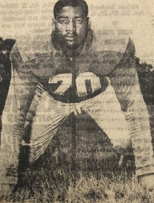 Elijah Childers, shown here in a clipping from the Jan. 18, 1956, edition of the Abilene Reporter-News, was a standout lineman for the Abilene Woodson Rams and Prairie View A&M Panthers.
