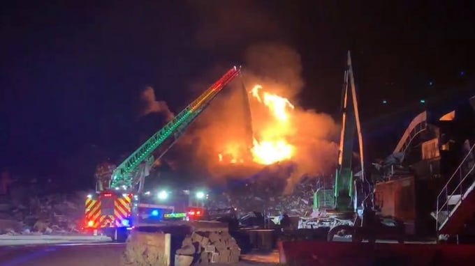 Image result for Abilene firefighters battle overnight fire at Pine Street Salvage