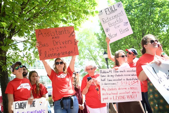 "Asheville and Buncombe County educators and supporters held a rally for public education at the Vance Monument on May 1, 2019. The rally, themed i""Strong Students, Strong Schools, Strong Communities,"" was intended to complement the NC Association of Educators' Day of Action in Raleigh."