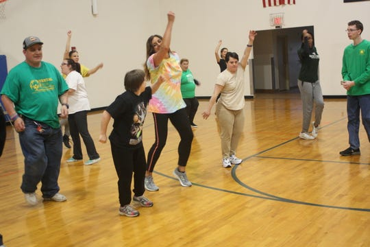 In honor of the retirement of Special Olympics' Vestal head coach Jenny Sorber, the team does a Zumba dance during her last practice on April 29.
