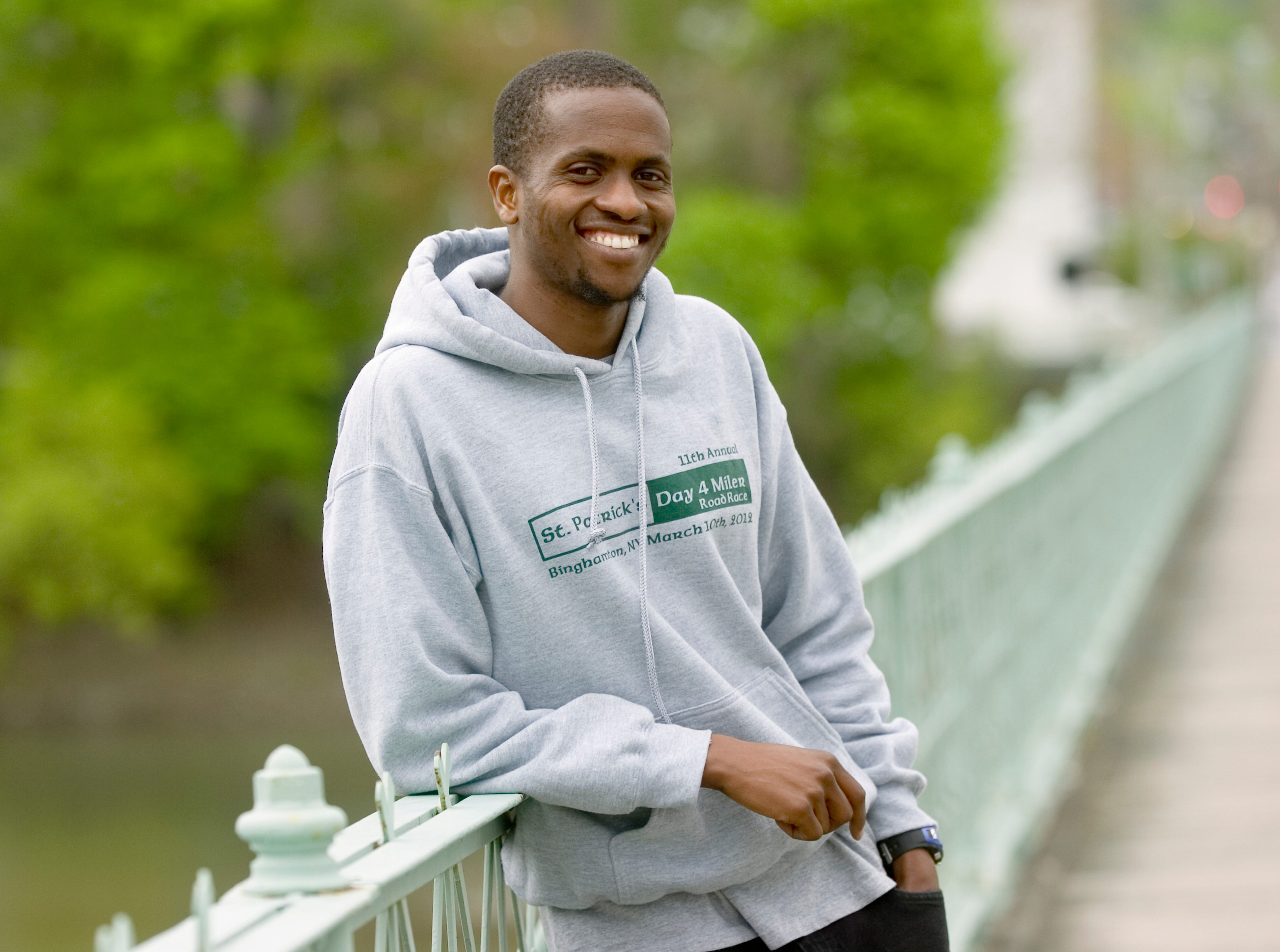 2012: Binghamton University graduate student Peter Kosgei plans to compete in the Greater Binghamton Chamber of Commerce's Bridge Run on Sunday.