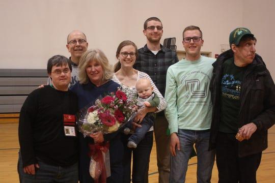 Jenny Sorber (in blue) celebrates her last practice with the Vestal Special Olympics on April 29.