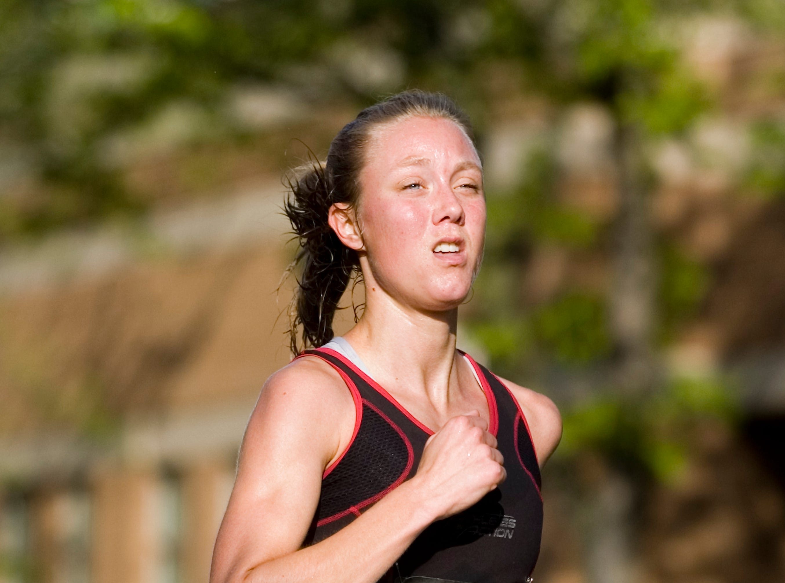 2012: Jennifer Stevens of Laceyville, Pa. competes in the Greater Binghamton Chamber of Commerce Bridge Run half-marathon on Sunday in downtown Binghamton.