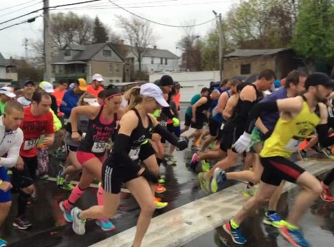 2016: Runners take off for the start of the 2016 Bridge Run in Downtown Binghamton Sunday.